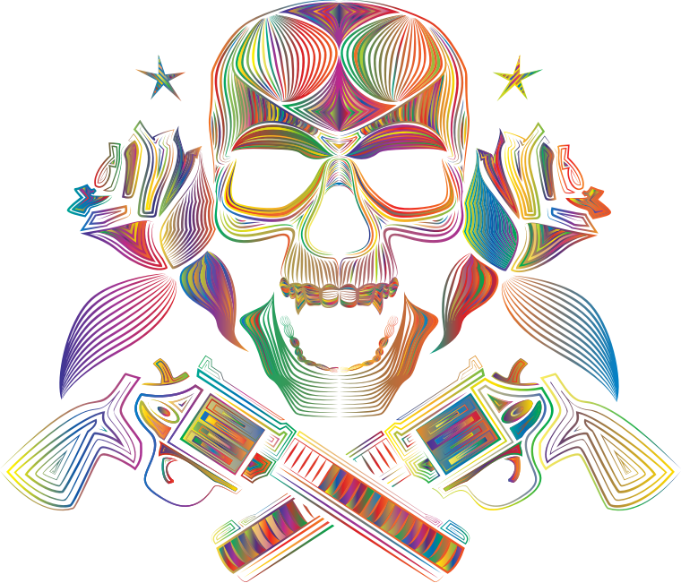 Flowers And Firearms Skull Line Art Polyprismatic No BG