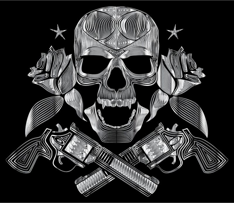 Flowers And Firearms Skull Line Art Polished Chrome