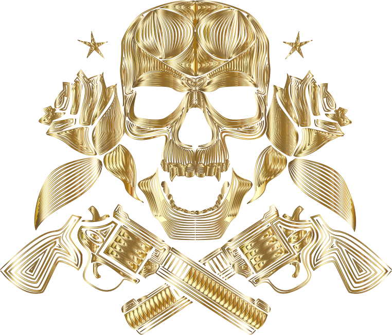 Flowers And Firearms Skull Line Art Gold No BG