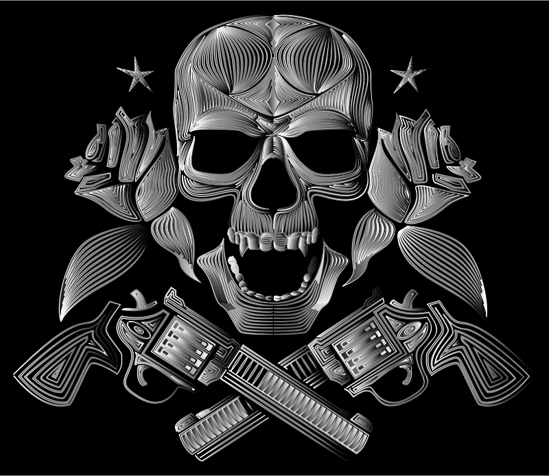 Flowers And Firearms Skull Line Art Duochrome