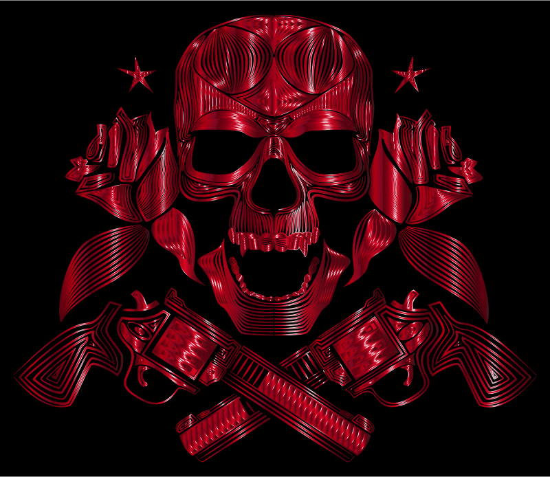 Flowers And Firearms Skull Line Art Crimson