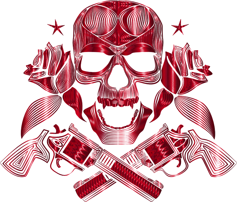 Flowers And Firearms Skull Line Art Crimson No BG