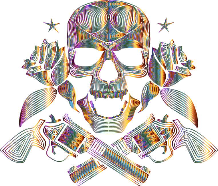 Flowers And Firearms Skull Line Art Chromatic No BG