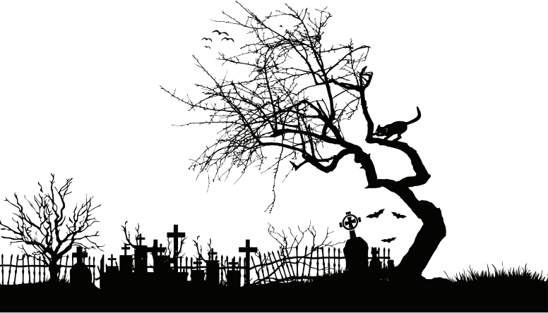 Midnight Graveyard Silhouette Isolated