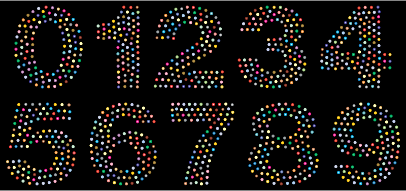 Numbers Circles Font Prismatic 2 With BG