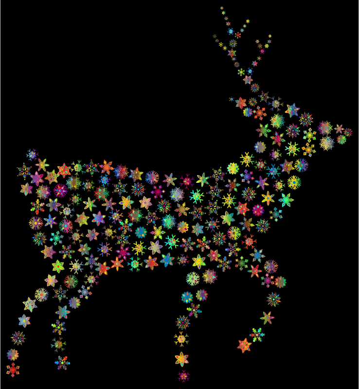 Deer Silhouette Snowflakes Polyprismatic