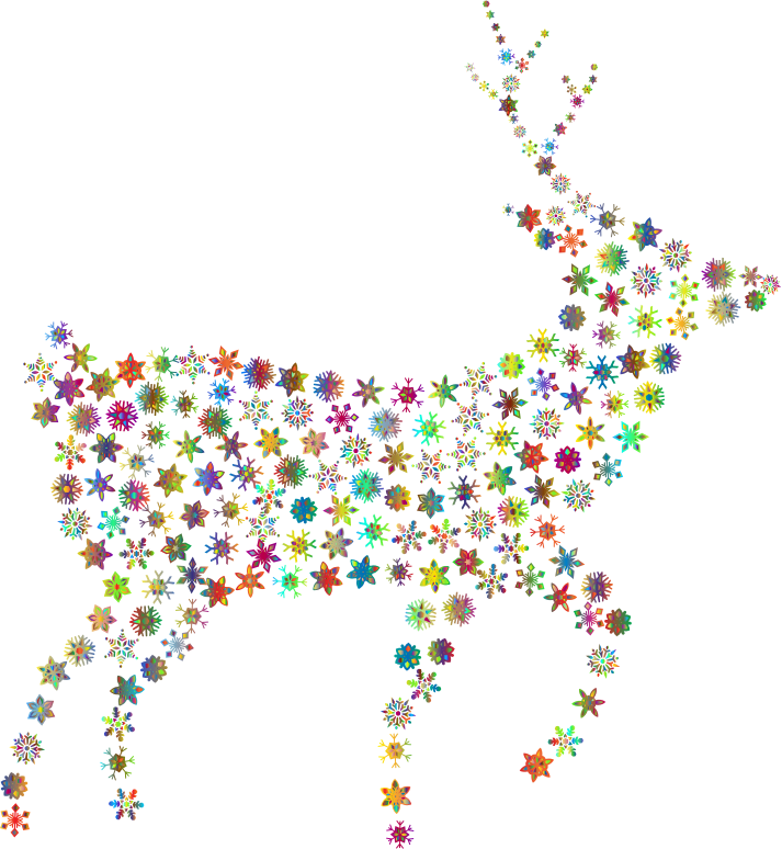 Deer Silhouette Snowflakes Polyprismatic No BG
