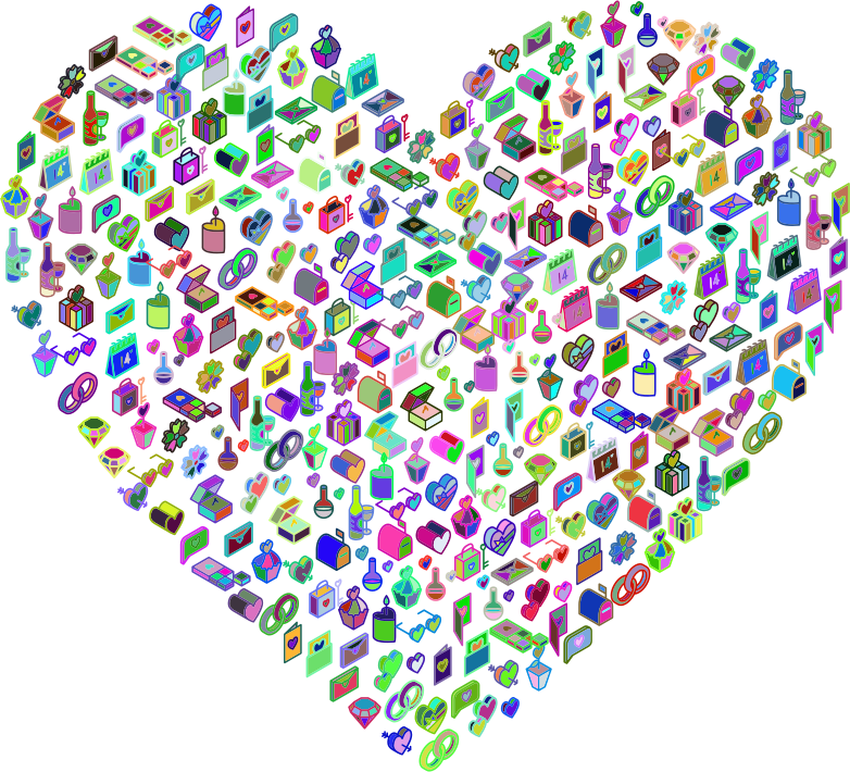 Isometric Valentines Icons Heart Prismatic
