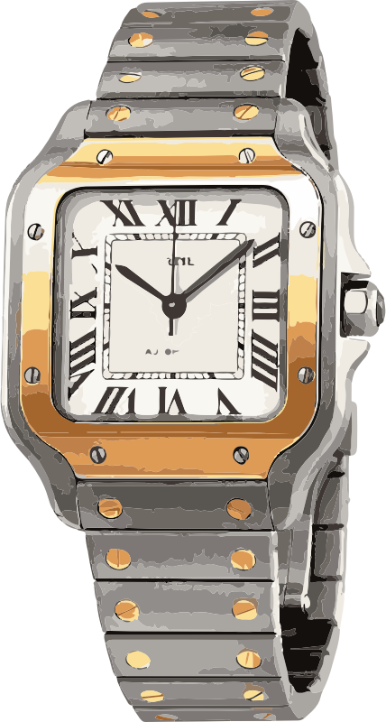 swiss watch in white gold and yellow gold with screws - horlogerie