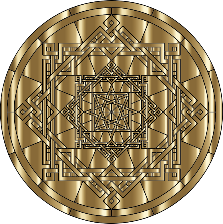 Interleaved Geometric Mandala Gold