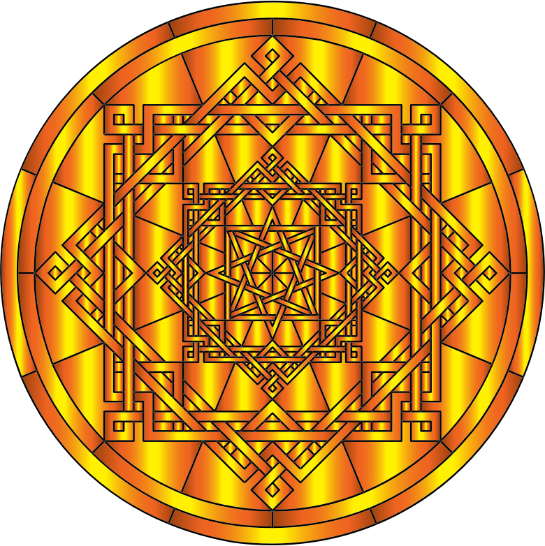 Interleaved Geometric Mandala Gold 2
