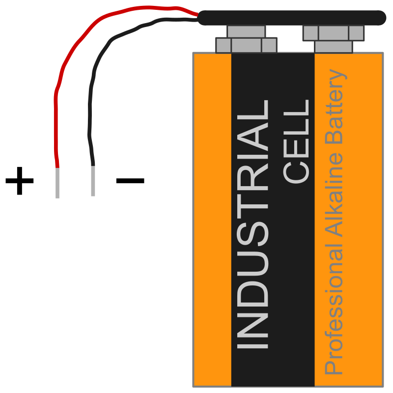 9 V battery with clip and polarity
