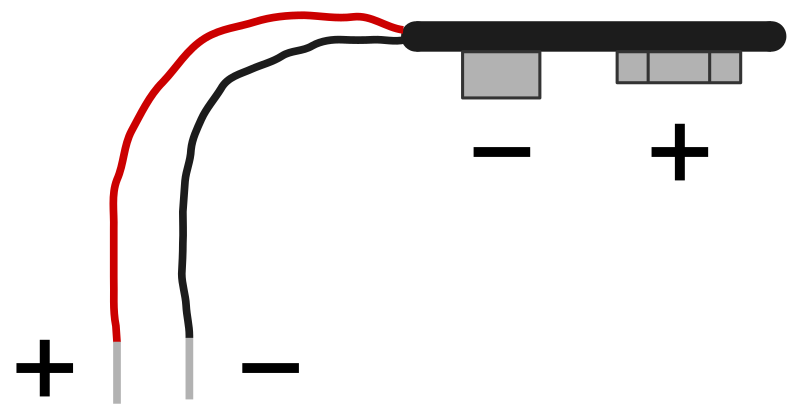 Battery Clip for a 9 V Battery with Polarity