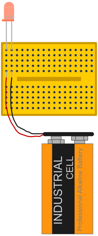 red led with 9 V battery connected via breadboard