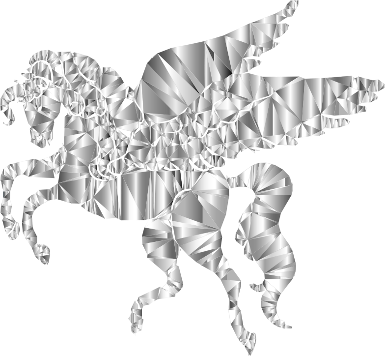 Winged Unicorn Low Poly 2