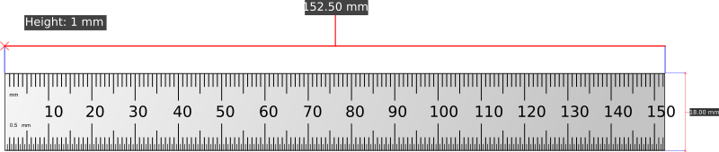 Shinwa 15cm ruler with dimensions