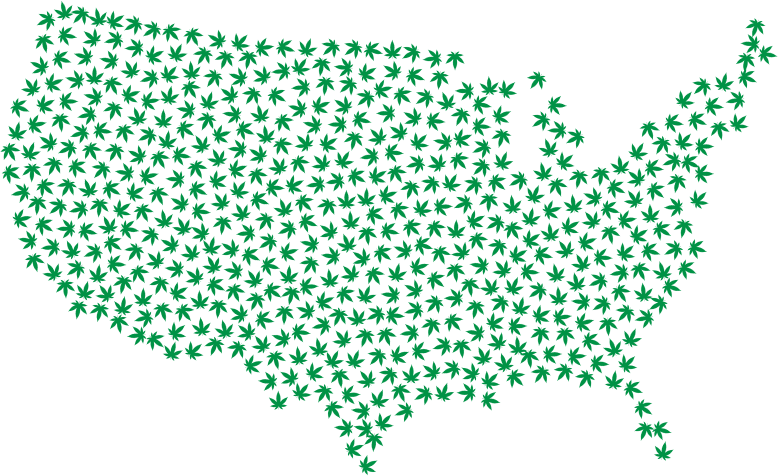 Marijuana America Map Green