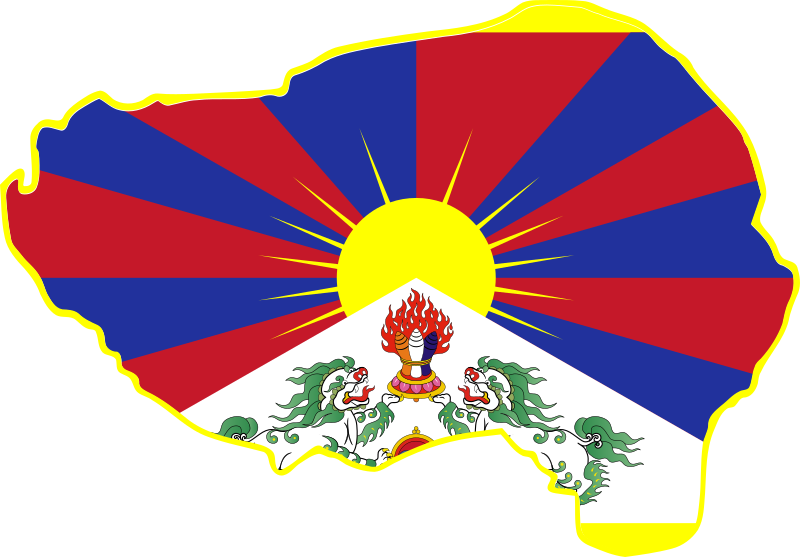 Tibet flag in borders
