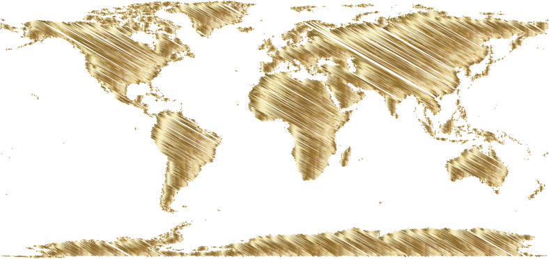 World Map Sketch Gold Openclipart
