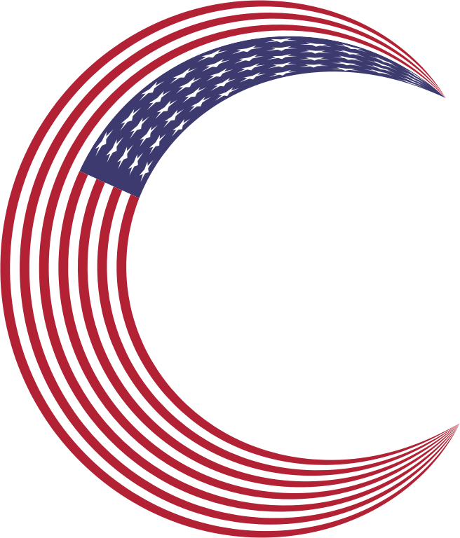 America Flag Crescent Moon