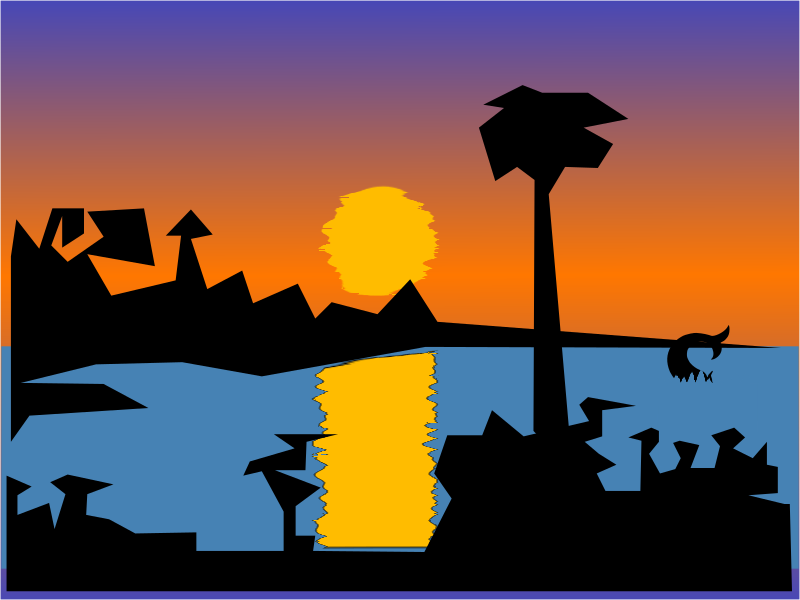 Sunset with the sun, solar road, silhouettes, water and mermaid