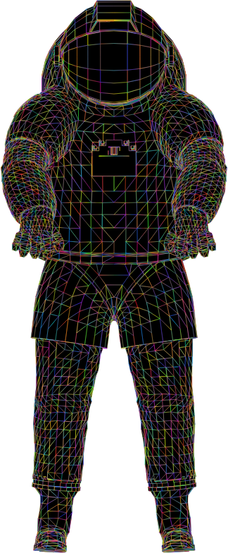 Nasa Spacesuit 3D Wireframe Polyprismatic With BG