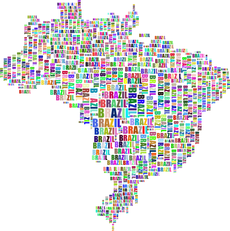 Brazil Map Typography Prismatic