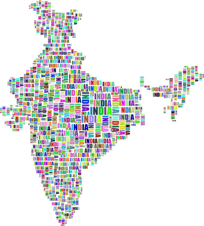 India Map Typography Prismatic
