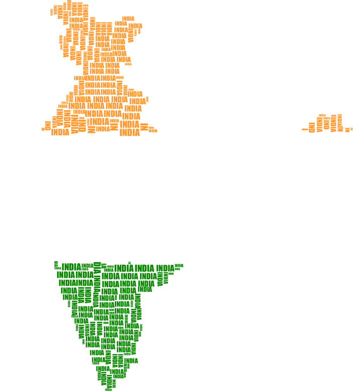 India Map Typography Flag Colors