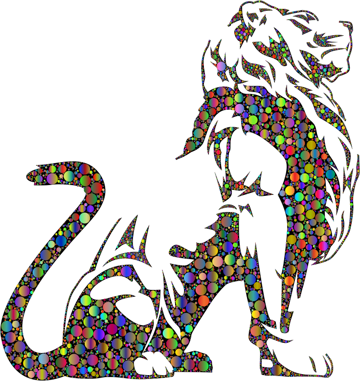 Stylistic Lion Silhouette Circles Polyprismatic
