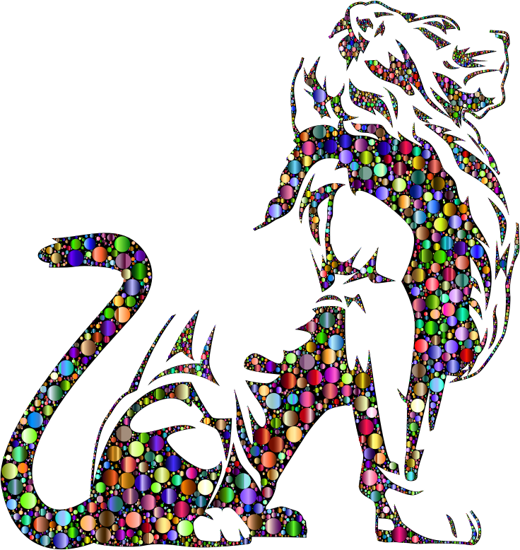 Stylistic Lion Silhouette Circles Chromatic