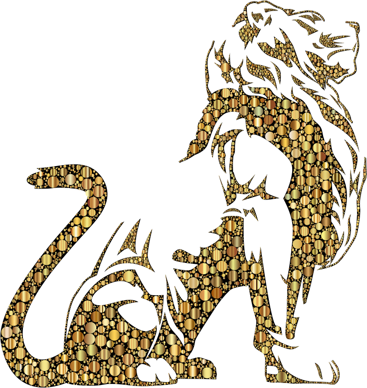 Stylistic Lion Silhouette Circles Gold