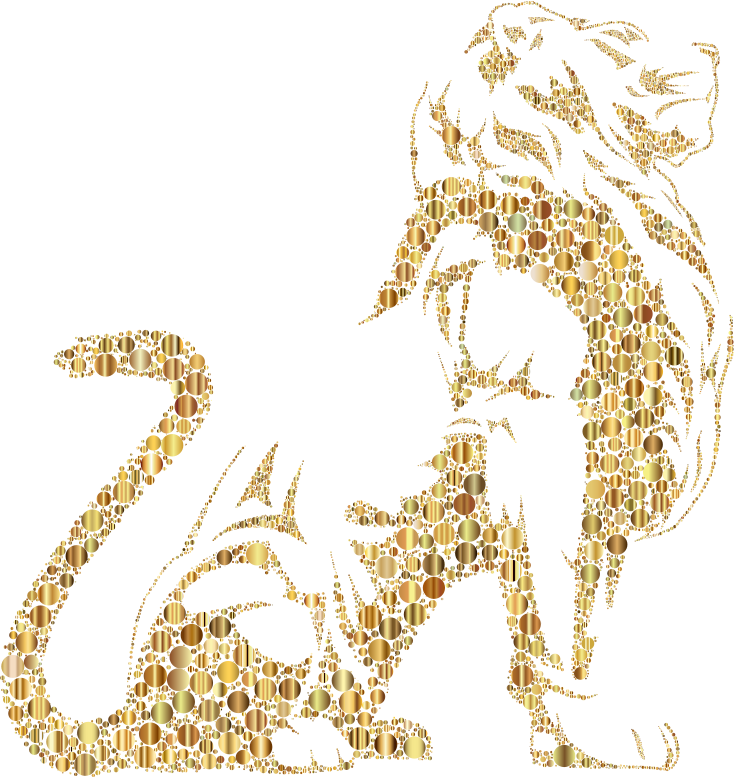 Stylistic Lion Silhouette Circles Gold No BG