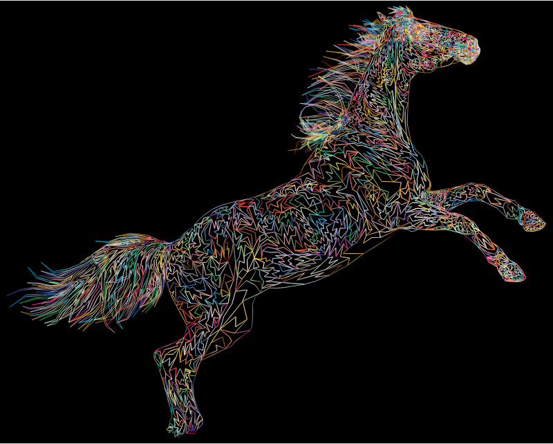 Raging Horse Wireframe Prismatic