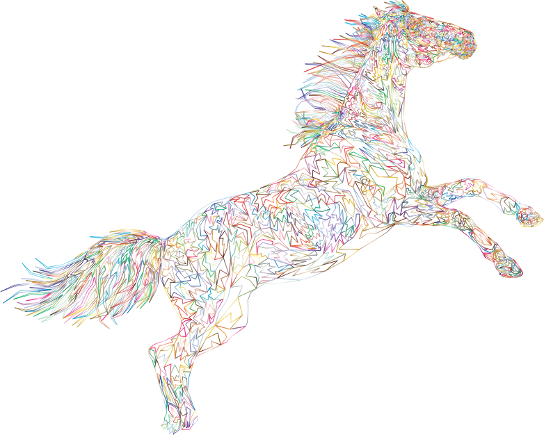 Raging Horse Wireframe Prismatic No BG