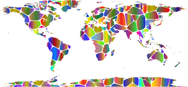 World Map Large Tiles Polyprismatic
