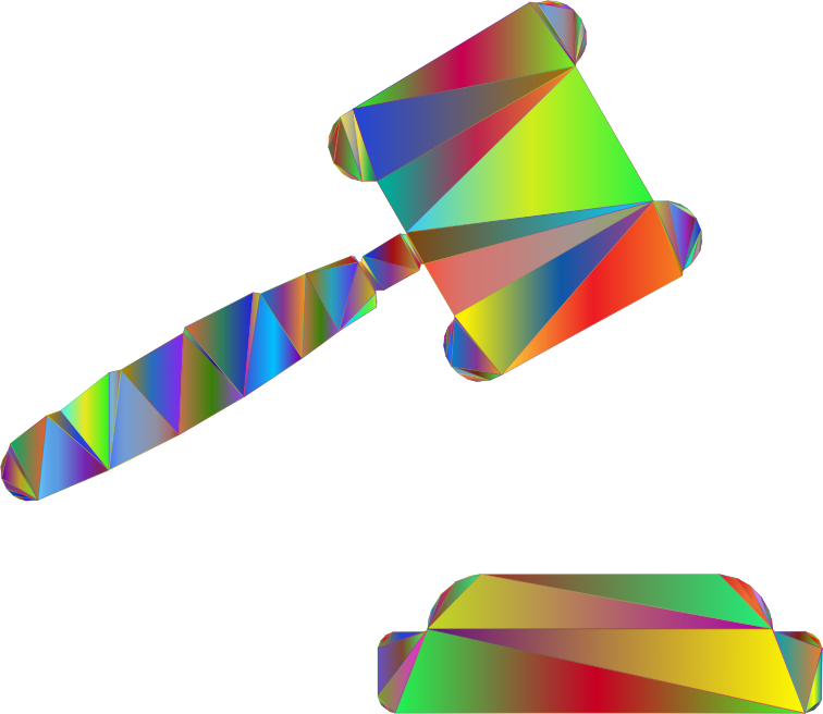 Gavel And Sound Block Icon Low Poly