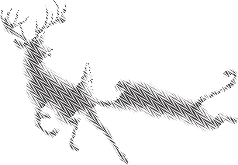 Deer And Mountain Lion Silhouette Waves