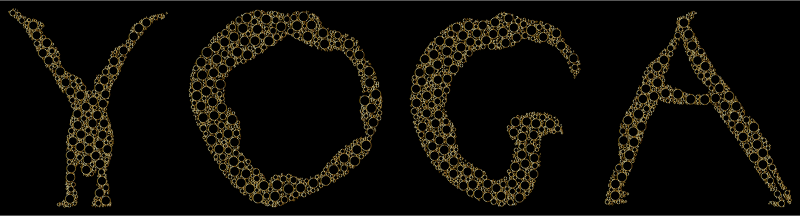 Yoga Circles Typography Gold Outline With BG