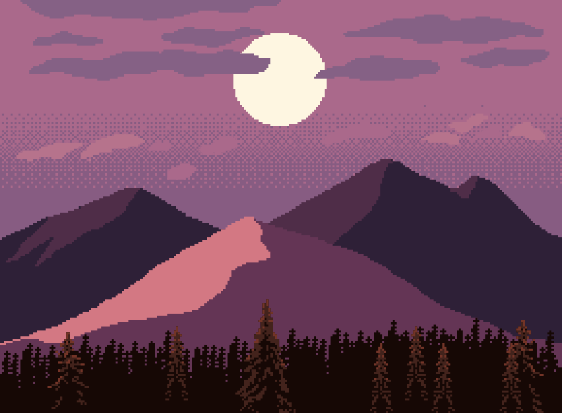 pixel mountains