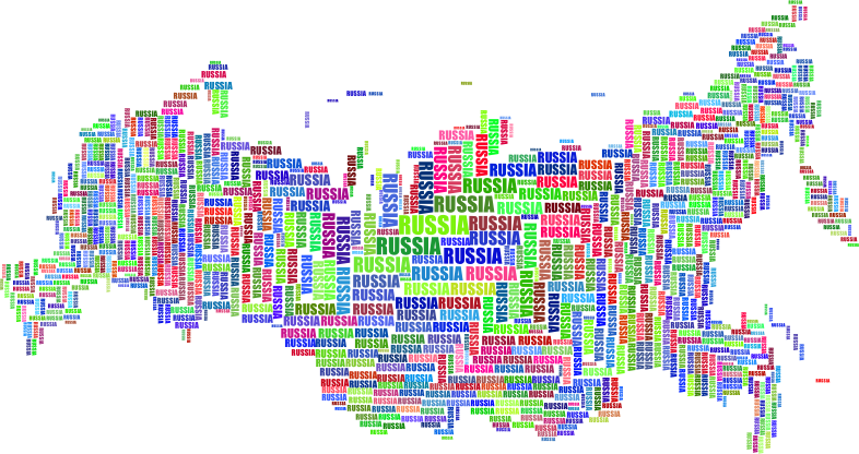 Russia Map Typography