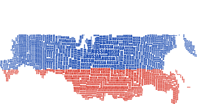 Russia Map Typography Flag Colors
