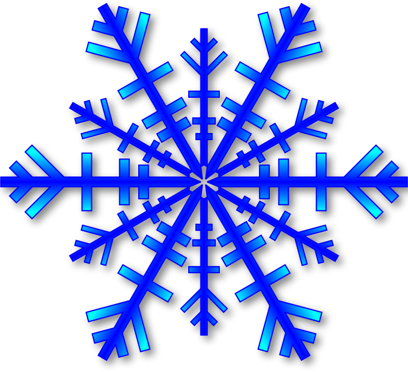 Blue Snowflake with grey Shadow