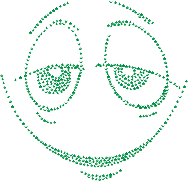 Stoned Smiley Face Marijuana Green