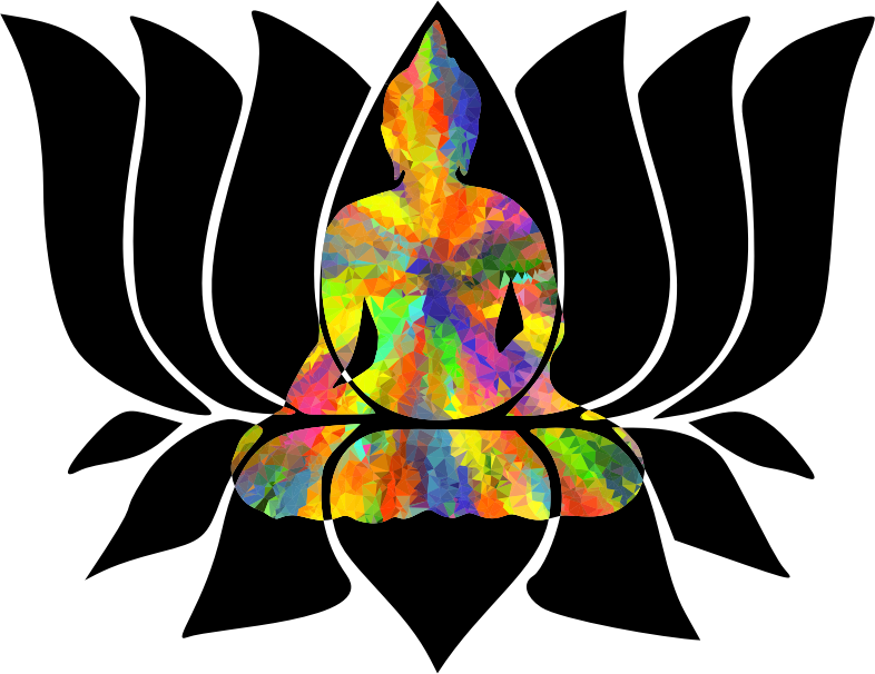 Buddha Lotus Negative Space Low Poly