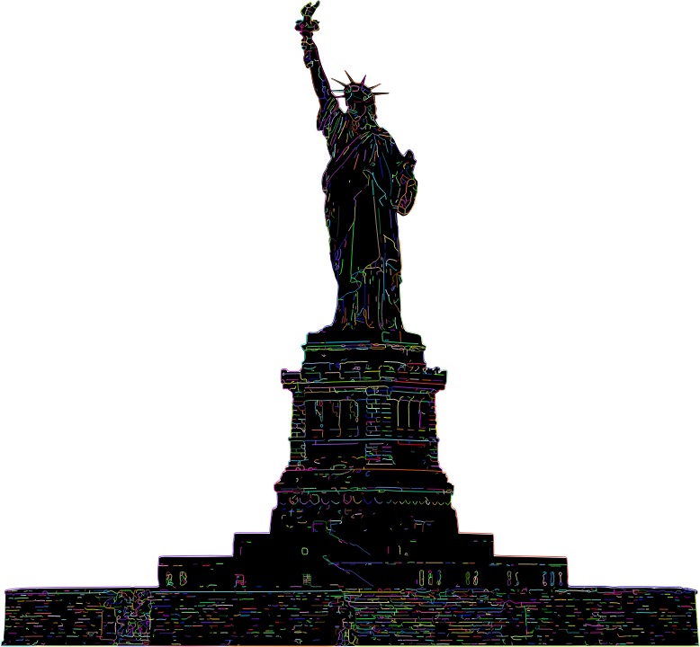 Statue Of Liberty Line Art Strokes Prismatic