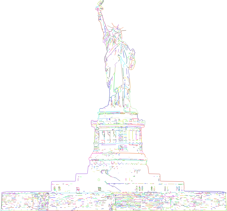 Statue Of Liberty Line Art Strokes Prismatic No BG