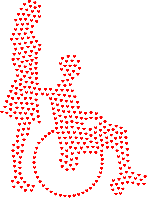 Woman Pushing Man In Wheelchair Silhouette Hearts