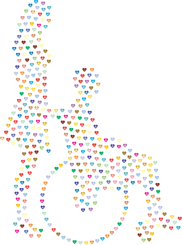 Woman Pushing Man In Wheelchair Silhouette Hearts Prismatic