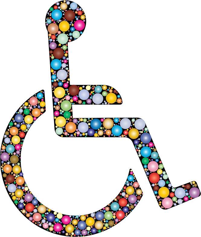 Wheelchair Icon Circles Prismatic With BG